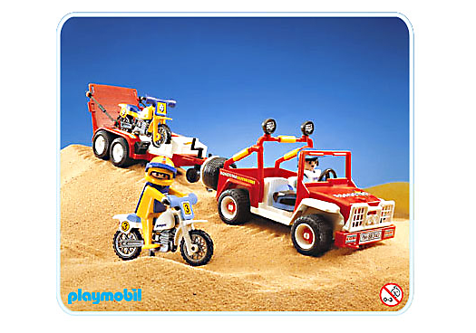 voiture tout terrain moto cross 3143 a playmobil france. Black Bedroom Furniture Sets. Home Design Ideas