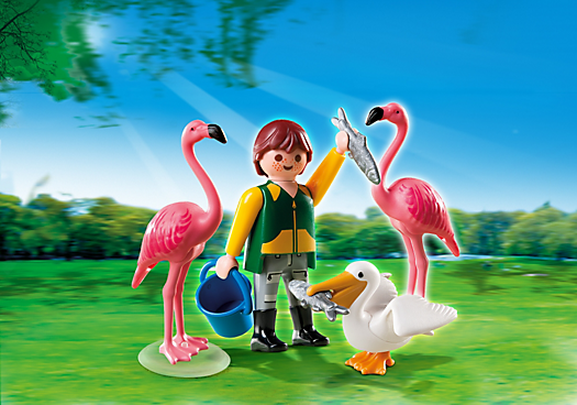 Zookeeper with Exotic Birds