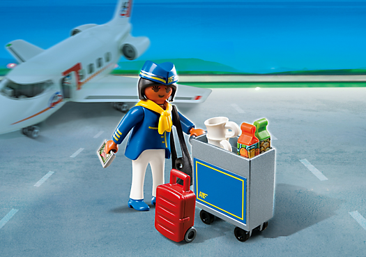 Flight Attendant with Service Cart