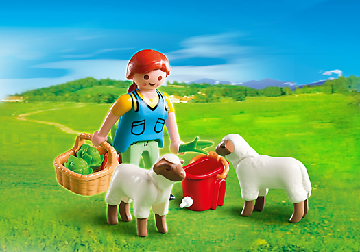 Country Woman with Sheep Feed