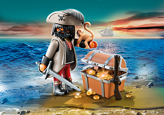 Gloomy Pirate with Treasure Chest