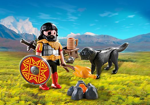 Barbarian with Dog at Campfire