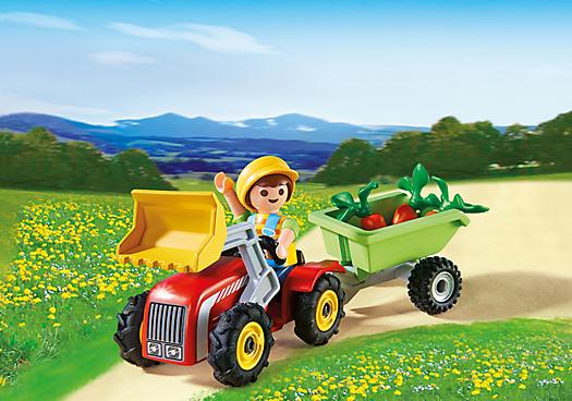 Enfant avec tracteur et remorque 4943 playmobil france - Tracteur remorque enfant ...