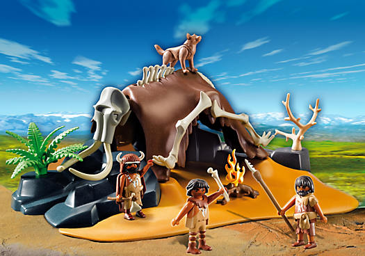 Mammoth Skeleton Tent with Cavemen