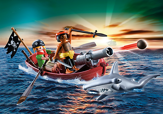 Pirates Rowboat with Shark
