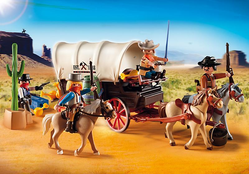 Chariot avec cow-boys et bandits Playmobil