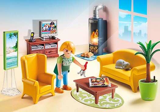 salon avec po le bois 5308 playmobil france. Black Bedroom Furniture Sets. Home Design Ideas