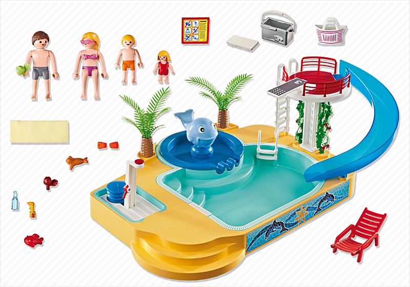 Destockage playmobil 5433 famille avec piscine et for Piscine playmobil jouet club
