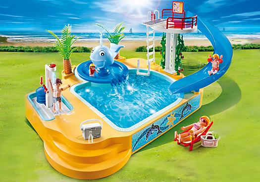 Famille avec piscine et plongeoir 5433 playmobil france - Piscine moderne playmobil ...