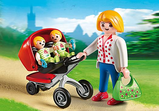 Maman avec jumeaux et landau 5573 playmobil france for Prix piscine playmobil