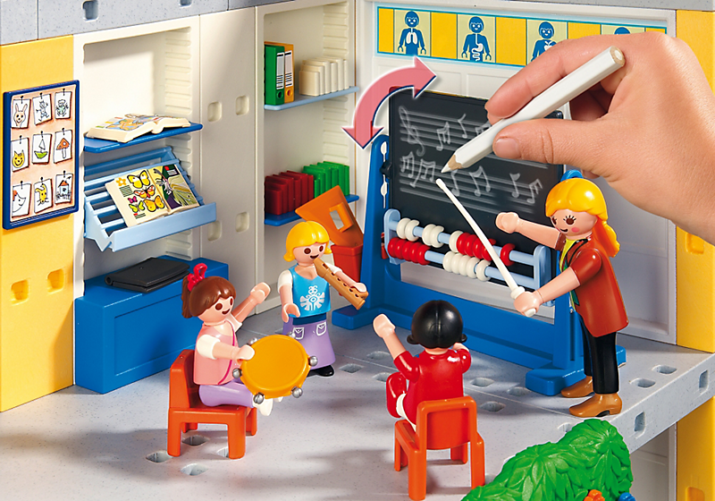 Playmobil 5923 ecole avec 3 salles de classe achat for Salle a manger playmobil city life