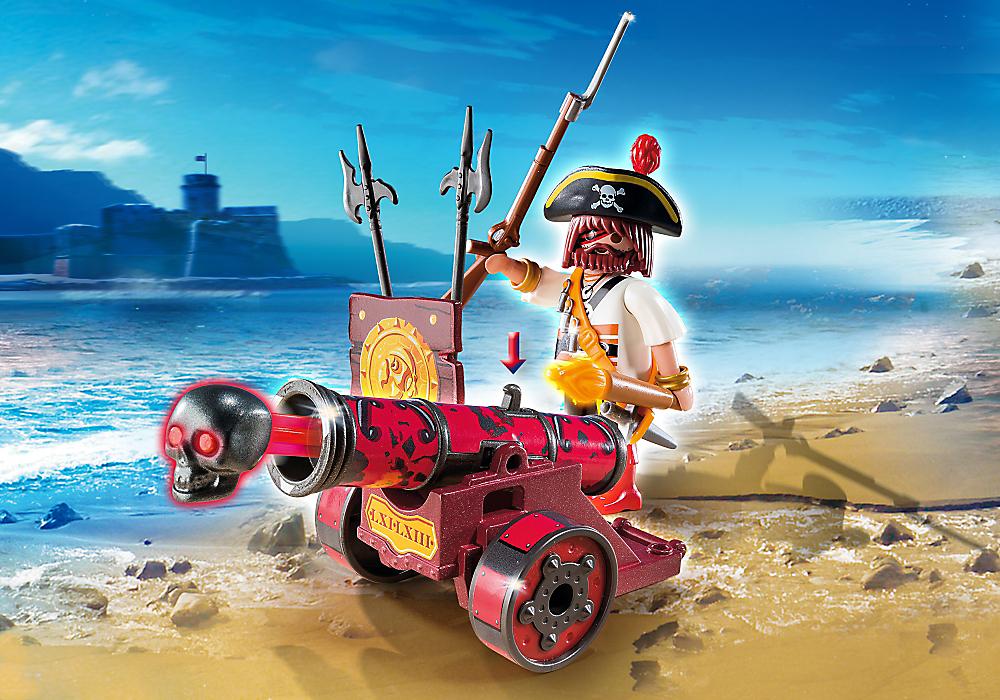 Playmobil 6163 : Pirates : Pirate avec canon rouge Sans marque  Magasin de