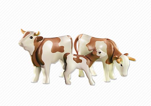 2 Vaches Avec Veau Bruns 6356 Playmobil 174 France