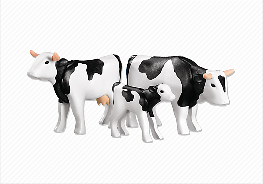 2 Cows with Calf (Black/White)