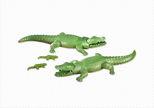 2 Large Alligators with 2 Small Alligators